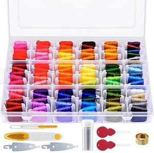 Paxcoo 146 Pcs Embroidery Floss with Organization Box Including 108 Colors Cross Stitch Thread Friendship Bracelet String and 38 Pcs Cross Stitch Tool Kit for Friendship Bracelet String Making