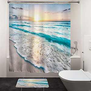 "HIYOO Bathroom Ocean Shower Curtain Sets, Tropical Beach Shower Curtains, Sea Coast Seashore Seaside Waves Bathtub Shower Curtain with Hooks, Blue Waterproof Polyester Fabric - Sunrise 60"" W x 72"" L"