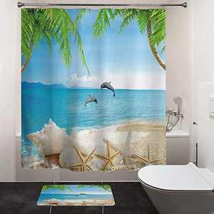 "HIYOO Bathroom Ocean Beach Shower Curtain Sets, Tropical Seashore Dolphin Seashell Shower Curtains, Sea Island Palms Tree Starfish Bathtub Shower Curtain with Hooks, Waterproof Fabric 60"" W x 72"" L"