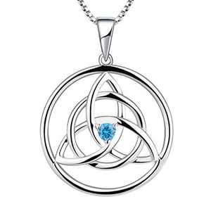YL Celtic Necklace 925 Sterling Silver 12 Birthstone Cubic Zirconia Celtic Knot Pendant Necklace for Women, Chain Length 45+3CM