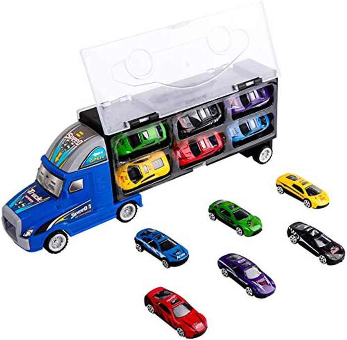 Zmoon Transport Carrier Truck Toy, Car Transporter with 12pcs Colorful Mini Metal Cars Vehicles Play Set for Boys and Girls