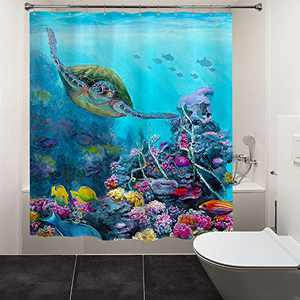 """HIYOO Bathroom Underwater World Theme Shower Curtain with Hooks, Ocean Sea Seabed Coral Design Bathtub Curtain Sets, Waterproof Polyester Fabric - Freedom Turtle 72"""" W x 72"""" L"""