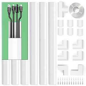 Cable Concealer, PVC Cord Cover, 94.5in Paintable Cord Hider to Hide Wires for TV and Computers in Home Office 6X L15.75in W1.18in H0.6in, CC02 White