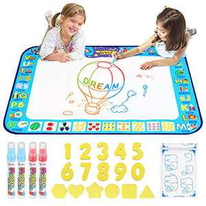 "D-FantiX Water Doodle Mat, Extra Large Water Drawing Mat Kids Magic Doodle Board Painting Writing Pad with 4 Magic Pen Educational Toy Gift for Toddlers Boys Girls 4 Colors 38.5 "" x 30 """