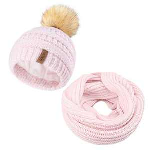 Toddler Kids Knit Beanie Winter Hat Scarf Set Pom Pom Hat Girls Boys (1-5Years)