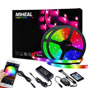 Miheal Led Light Strip, WiFi Wireless Smart Phone Controlled 65.6ft Non-Waterproof Strip Light Kit Black PCB 5050 LED Lights,Working with Android and iOS System,IFTTT[Energy Class A++]