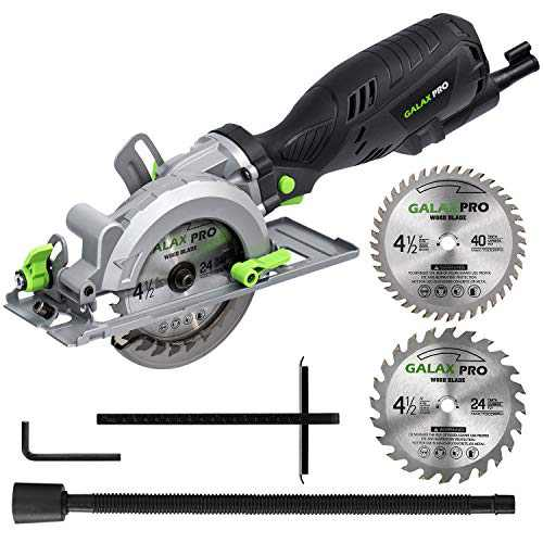 """GALAX PRO 5.8 Amp 3500 RPM Circular Saw, Max. Cutting Depth 1-11/16""""(90°),1-1/8""""(45°)Compact Saw with 4-1/2"""" 24T and 40T TCT Blades, Vacuum Adapter, Blade Wrench, and Rip Guide"""