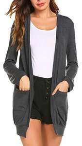 SimpleFun Women's Plus Size Long Sleeve Open Front Sweater Cardigan with Pocket(Dark Gray,XXL)