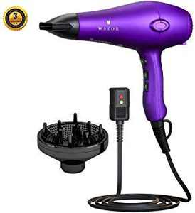 Wazor 3rd Generation Lightweight Low Noise Hair Dryer,( 1875W Tourmaline Ceramic Negative Ionic Blow Dryer)2 Speed 3 Heat Settings Cool Shot with Diffuser Concentrator(Purple)