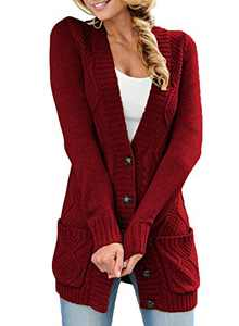 LOSRLY Women Open Front Cable Knit Cardigan Button Down Long Sleeve Sweater Coat Outwear with Pockets-Red S
