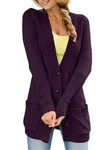 LOSRLY Women Open Front Cable Knit Cardigan Button Down Long Sleeve Sweater Coat Outwear with Pockets-Purple S