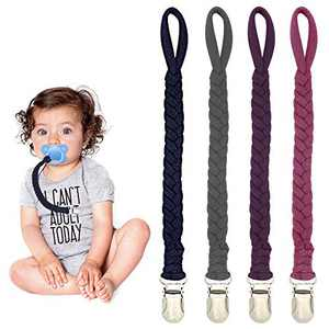 Pacifier Clips for Boys and Girls - 4 Pack Flexible Braided Baby Pacifier Holder Leash, Handmade Toddler Paci Clips(Navy Blue/Violet Red/Dark Pink/Dark Gray)