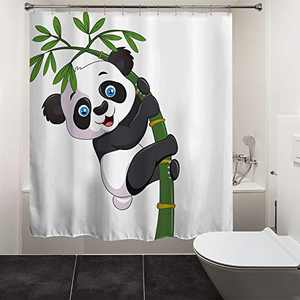 """HIYOO Bathroom Naughty Panda Shower Curtain with Hooks, Classical Bamboo Ink Painting Art Shower Curtain, Bathtub Decorative Waterproof Polyester White Fabric Shower Curtain 60"""" W x 72"""" L"""