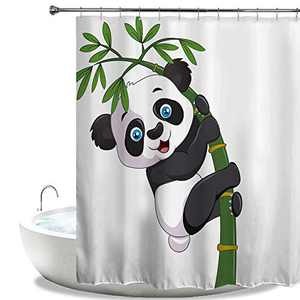 """HIYOO Bathroom Naughty Panda Shower Curtain with Hooks, Classical Bamboo Ink Painting Art Shower Curtain, Bathtub Decorative Waterproof Polyester White Fabric Shower Curtain 72"""" W x 72"""" L"""