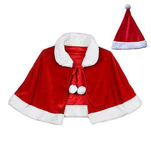 Blevla Christmas Capes Holiday Costume Mini Xmas Cappa with Santas Hat Red