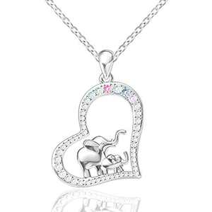 FREECO S925 Sterling Silver Lucky Elephant Love Heart Mother and Daughter Necklace for Women Girls (Colorful)