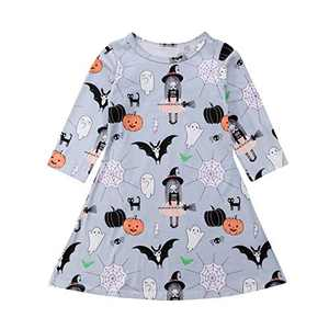 Wassery Halloween Toddler Kids Baby Girls Cartoon Spider Ghost Print Long Sleeve Dress Clothes (5-6 Years, Grey) …