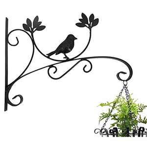 ocharzy Metal Plant Hanging Hook Wall Brackets Home Garden Decor Flower Pot Hanger Outdoor/Indoor Plants Lantern Hooks Pack of 1 (A, 13.7 x 10.6 in, Black)