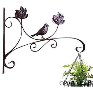 ocharzy Metal Plant Hanging Hook Wall Brackets Home Garden Decor Flower Pot Hanger Outdoor/Indoor Plants Lantern Hooks Pack of 1 (A, 13.7 x 10.6 in, Coffee)
