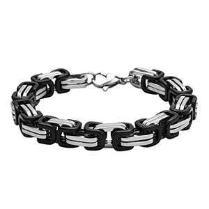 HolyFast 8mm Wide 7IN Stainless Steel Bracelet Byzantine Bracelet Black Silver Tone Men Jewelery
