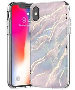 SPEVERT for iPhone Xs Max Case Luxury Marble Stylish Slim Cover for Girl Women Cute Elegant Sparkly Glitter Shockproof Durable Protective Case for iPhone Xs Max 6.5 inches - Pink Blue