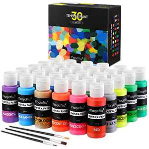Washable Tempera Paint for Kids, Magicfly 30 Colors (2 oz Each) Liquid Poster Paint, Non-Toxic Kids Paint with Fluorescent Glitter Metallic Neon Colors for Finger Painting, Hobby Painters