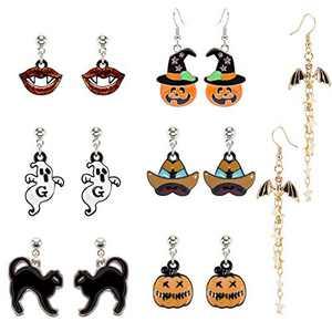 MADHOLLY 7 Pairs Halloween Theme Drop Earring Pumpkin Ghost Cat Wizard Hat Bat Dangle Earring Set for Girls and Women