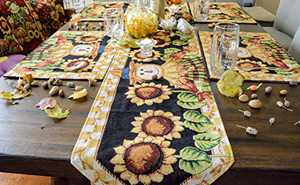 Tache Home Fashion Sunflower Field Scarecrow Thanksgiving Autumn Harvest Country Farmhouse Vintage Decorative Woven Tapestry Table Runners, 13x90, Black Gold