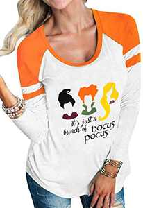 JINTING Plus Size Funny Halloween Shirts for Women Halloween Raglan Baseball Tee Shirt White