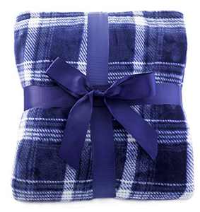 Simplicity Flannel Plush Plaid Throw Blanket Provides Comfort and Relaxation, Navy