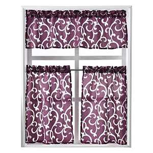 NAPEARL Kitchen Curtains 3 Piece Set-Jacquard Fabric Kitchen Window Curtain Set with Tiers and Valance, Exquisite Small Kitchen Curtains for Farmhouse, Laundry Room, Purple