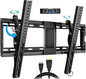"Everstone Adjustable Tilt TV Wall Mount Bracket for Most 32-86 Inch LED,LCD,OLED,Plasma Flat Screen,Curved TVs,Low Profile,Up To VESA 600x400 and 165 lbs,Includes HDMI Cable and Level,Fits 16"",18"",24"""