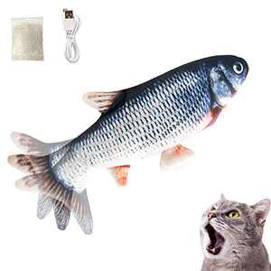 Growom Electric Moving Fish Cat Toy, Flopping Cat Toy Funny Interactive Pets Pillow chew Fish Kick Supplies Catnip Kicker Toy for Cat/Kitty Christmas & Halloween gifts