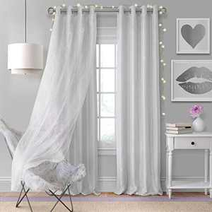 """Elrene Home Fashions Aurora Solid Faux Silk with Sheer Sparkle Overlay Room Darkening Window Curtain Panel, 52"""" W x 108"""" L (1, Pearl Gray"""