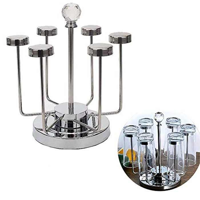 Rotating Cup Mug Glass Holder Rack Stainless Steel 6 Cups Drying Rack Stand
