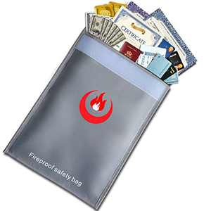 """FIREGOD Fireproof Money & Document Bags 15"""" x 11"""" Double Layers Fire Resistant Money Bags,Creative Fireproof Safe Money Storage, Money Safe for Cash,Valuables Documents, Jewelry,Passport"""