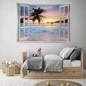 "HIYOO Home Sunrise Beach Tapestry Wall Hanging, Sunset Sea Ocean Tapestry Tropical Seashore Island Wall Tapestry Beach Wave Nature Tapestry, Beach Wall Decor for Dorm Bedroom Living Room 60""W x 40""L"