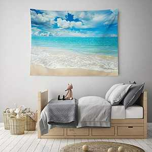 """HIYOO Beach Waves Tapestry Wall Hanging Blue Sky Coulds Nature Tapestry Tropical Ocean Sea Seashore Coast Wall Tapestries Decor for Dorm Bedroom, Home Wall Background - Pale Blue Water 60""""W x 40""""L"""