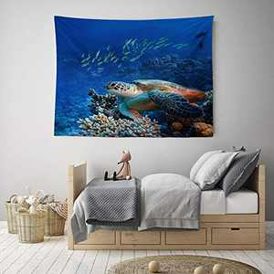 """HIYOO Home Bottom Sea Turtles Tapestry Wall Hanging, Ocean Sea Underwater World Seabed Coral Reef Wall Tapestry, Nature Art Tapestries Decor For Dorm Bedroom Living Room, Wall Background 60""""W x 51""""L"""