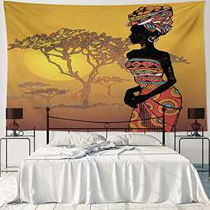 """HIYOO Home Nature Art Wall Hanging Fabric Tapestry, Ancient African Woman Tapestry, Decor For Dorm Room, Bedroom, Living Room, Party Background - African Beauty 90""""W x 60""""L"""