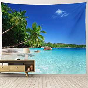 """HIYOO Home Tropical Ocean Sea Coast Wall Tapesatry Beach Palm Trees Tapesatry Wall Hanging Nature Art Tapestry Decor For Dorm Bedroom Living Room, Wall Background 90""""W x 71""""L"""