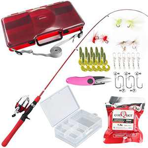 BLISSWILL Kids Fishing Pole Tackle Box Fishing Rod Kit Telescopic Fishing Rod and Reel Combo Lures Box Fishing Gear for Kids (Red)