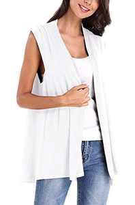 Women's Sleeveless Open Front Cardigan Vest Coat (L, White)
