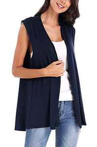 Women's Sleeveless Open Front Cardigan Vest Coat (S, Navy Blue)