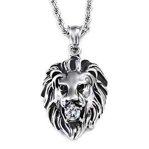 Granny Chic Stainless Steel Vintage Men's Lion Pendant Necklace White Stone Rope Chain(Silver)