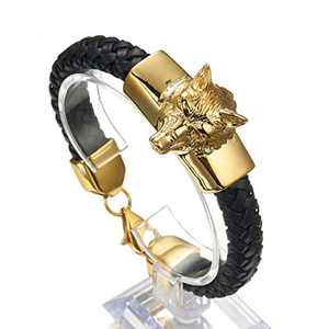 Granny Chic Stainless Steel Mens Wolf Head Charm Chain Bracelet with Black Genuine Braided Leather(Gold)
