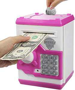 Elemusi Cartoon Electronic Password Mini ATM Piggy Bank Cash Coin Can Auto Scroll Paper Money Saving Box, for Children Kids