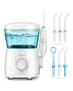 iTeknic Water Flosser for Braces Teeth Cleaning, 600ML Water Flosser Teeth Cleaner for Family, Bridges & Gum Care, Professional Electric Dental Oral Irrigator with 10 Water Pressure Levels, 7 Jet Tips
