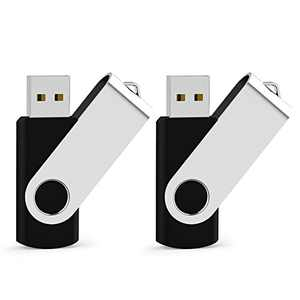 JUANWE USB Flash Drives 64GB 2 Pack Thumb Drives USB 2.0 Jump Drive Swivel USB Memory Stick Keychain Design, with LED Indicator, Black