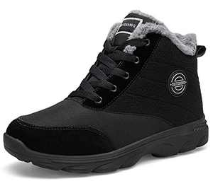 BomKinta Women's Snow Boots Keep Warm Surface Anti-Slip Soft Sole Warm Fur Lined Winter Ankle Booties Black Size 6